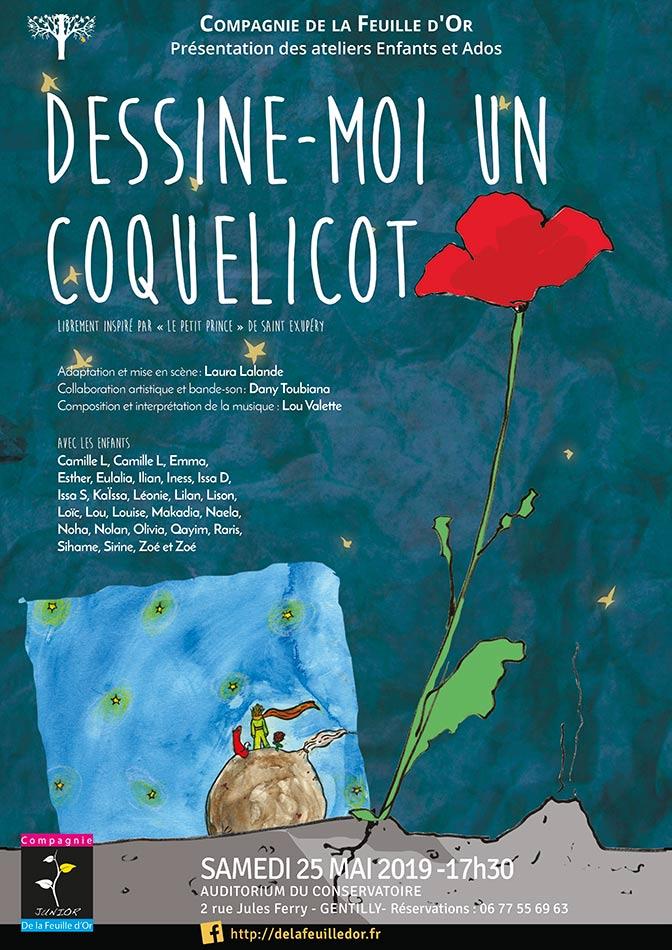 Compagnie de la Feuille d'or- Dessine-moi un coquelicot. spectacle enfant 2019- Affiche Domiinque Martigne