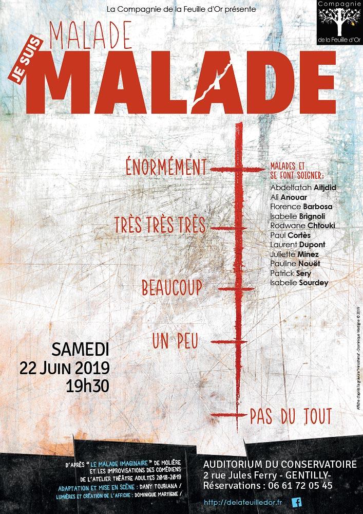 Compagnie de la feuille d'or Affiche - je suis Malade  atelier théâtre 2019